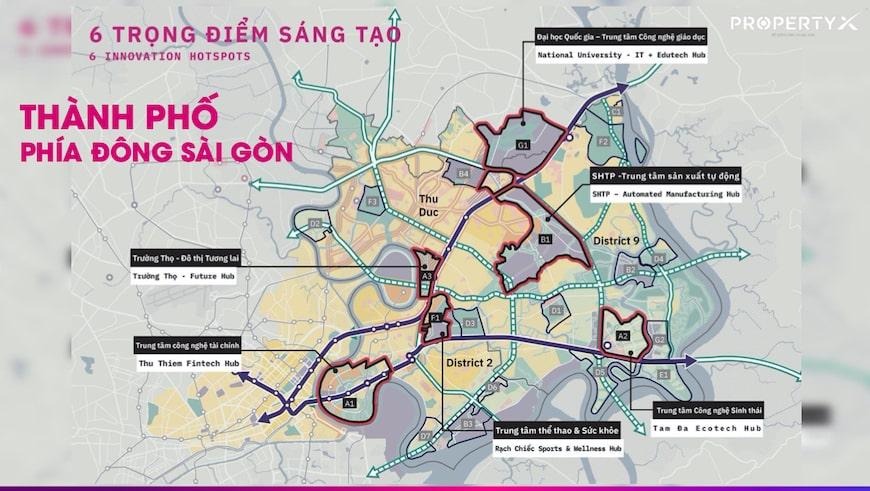 6 trọng điểm sáng tạo thành phố phía đông