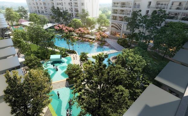 Khu hồ bơi theo tiêu chuẩn resort 5 sao trong lòng khu căn hộ