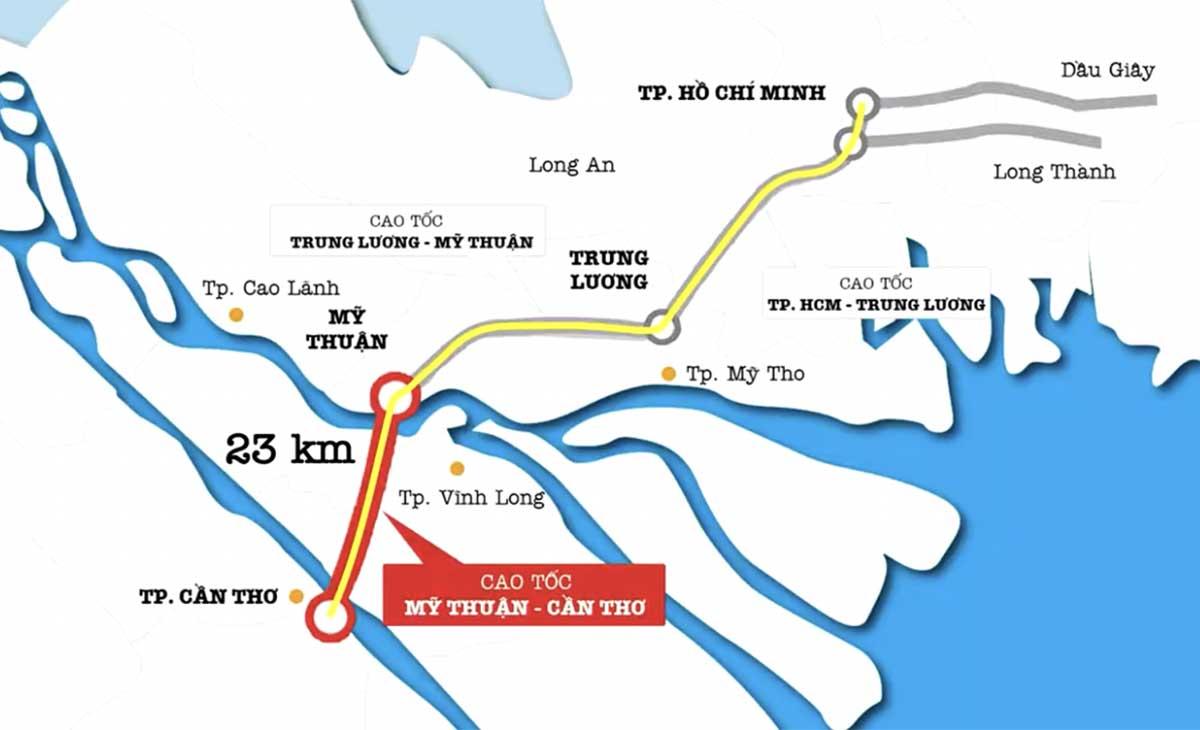 Vi tri Cao toc My Thuan Can Tho 2021 - Đường Cao tốc Mỹ Thuận Cần Thơ chính thức khởi công tháng 12/2020