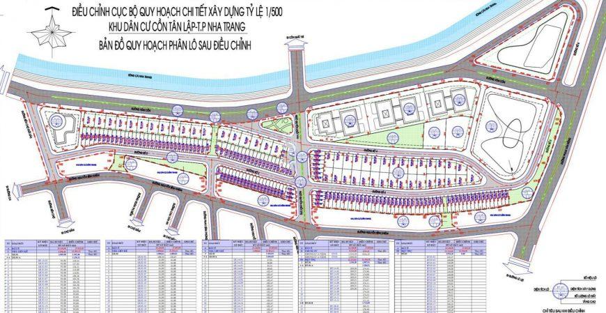 Quy hoạch chi tiết tỷ lệ 1/500 Khu dân cư Cồn Tân Lập Nha Trang