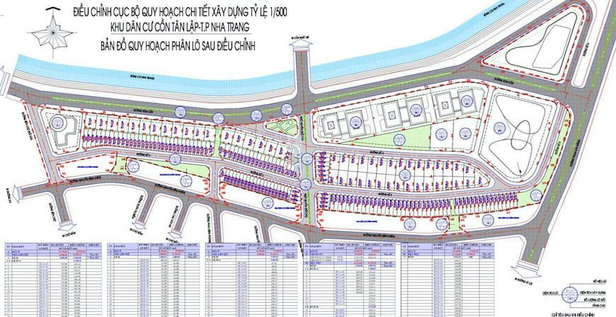 quy hoach tong the du an khu do thi con tan lap nha trang - Quy hoạch chi tiết tỷ lệ 1/500 Khu dân cư Cồn Tân Lập Nha Trang