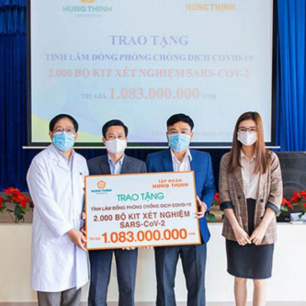 Tập đoàn Hưng Thịnh trao 2.000 bộ kit xét nghiệm Covid-19 hỗ trợ tỉnh Lâm Đồng chống dịch