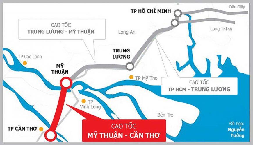 Đường Cao tốc Mỹ Thuận Cần Thơ chính thức khởi công tháng 12/2020