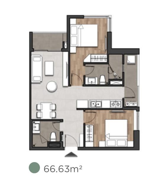 Căn hộ 2 phòng ngủ dự án moonlight centre point