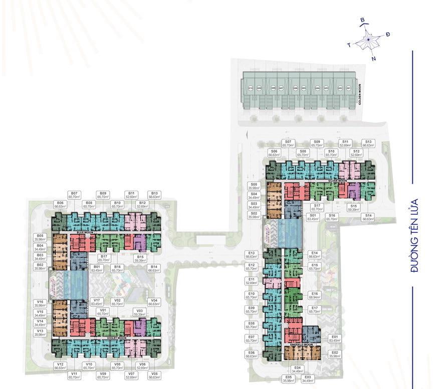 mặt bằng điển hình dự án moonlight centre mall bình tân